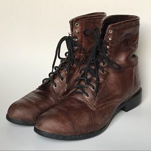 Ariat Lace Up Boots Leather Western Roper Boots